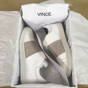Vince White and Tan Leather Sneakers
